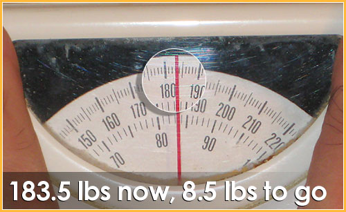 I am down to 183.5 lbs now