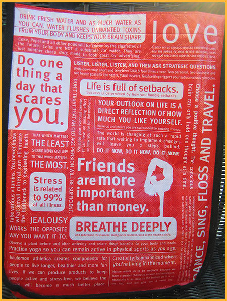 cool quotes and pics. LuluLemon bag With Cool Quotes